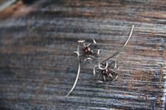 Oxidized sterling silver and garnet long post flower stud earrings, wire wrap long earrings. Silver 925 and garnet earrings