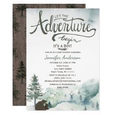 Forest Adventure Boy Country Bear Deer Baby Shower Invitation This baby shower invitation features pine trees, mountains, deer, a bear and a rustic wood background. Created for a boy baby shower, this invitation is sure to impress your guests. Forest Baby Showers, Deer Baby Showers, Boy Baby Shower Themes, Baby Boy Shower, Forest Adventure, Adventure Awaits, Greatest Adventure, Rustic Baby, Rustic Wood