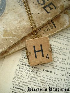 Vintage SCRABBLE Letter H Necklace Lovely Old by PreciousPastimes, $19.50