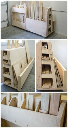DIY Rolling Lumber & Sheet Goods Cart: Finding a place to store lumber and sheet goods can be challenging. This lumber cart keeps them all organized with shelves to store long boards, upright bins for shorter pieces, and a large area to hold sheet goods. Plus, the cart rolls, so you can push it wherever you need to in your work space. Find the FREE project plan and many others at http://buildsomething.com