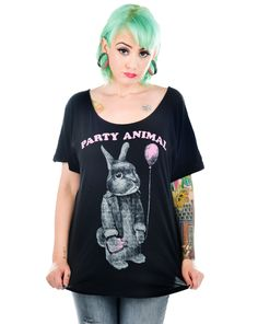 SCOOP NECK T-SHIRT - PARTY ANIMAL