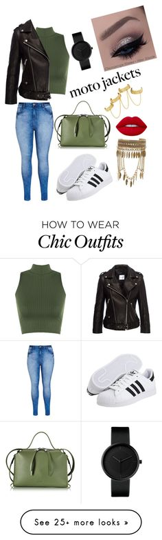 """""""Moto jacket"""" by yaz-shah on Polyvore featuring City Chic, House of Harlow 1960, WearAll, New Look, Anine Bing, Jil Sander, adidas Originals and Lime Crime"""