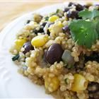 Quinoa and Black Beans. Very yummy! Even Cole and Paisley ate it :) Thanks for the new recipe, Katy!