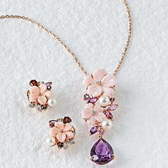 Jeweled Blossom Necklace and Earrings