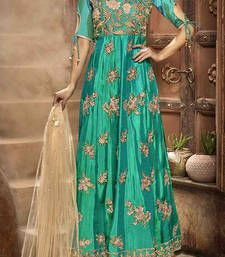 Buy Green embroidered faux georgette semi stitched salwar with dupatta semi-stitched-salwar-suit online