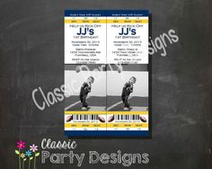 SALE Football Ticket Invitation All Star MVP Yellow and Blue WVU Michigan by ClassicPartyDesigns, $7.00