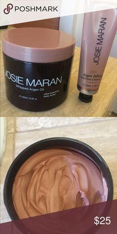 Josie Marian argan oil set Gorgeous whipped light bronze whipped body butter and Argan intensive creamy oil. Used both maybe twice, see photos.  Shimmery  on legs arms everywhere and so moisturizing on skin like her other lotions. Josie Maran Makeup Bronzer