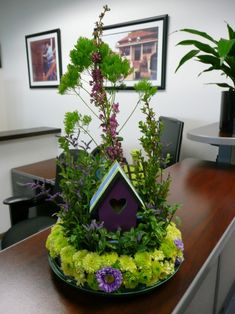 beautiful idea, great gift for someone who adores birdhouses and plants
