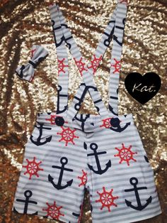 Boys sailor suspender shorts set with matching bow by Kattramirez