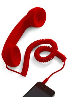 Call to Charm Cell Phone Handset in Red - Red, Solid, Rockabilly