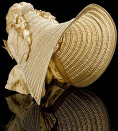 A beautiful drawn silk bonnet from the late Historical Costume, Historical Clothing, Bonnet Hat, Silk Bonnet, Victorian Hats, Evolution Of Fashion, Costume Hats, Antique Clothing, Hat Hairstyles