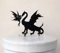 Wedding Cake Topper  Dragon & Fairy Silhouette by Plasticsmith