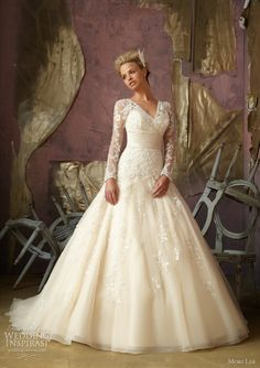 Lace sleeved ball gown. Mori Lee by Madeline Gardner.