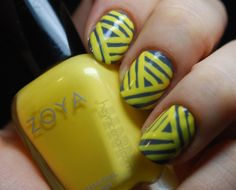 """cute basket weave design... base coat is Nails Inc. """"In The Thames"""" and the the stripes are Zoya """"Pippa"""""""