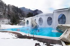 ALPINE STEAM | Bathing outdoors at the two-year-old Tamina Therma in Bad Ragaz, an hour...