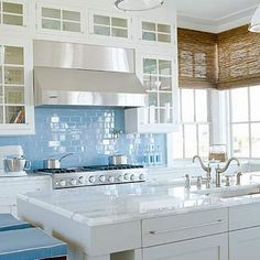 White kitchen cabinets  by mornindew2822, Love this look...especially those cabinets with the blue back splash! Hardware