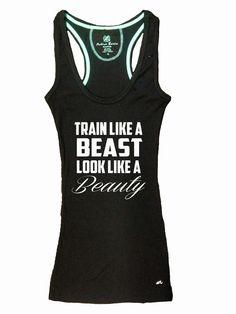 Train Like a Beast Look Like a Beauty Gym Tank Top Racerback Workout Custom  Colors You acf3be67f