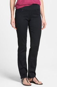 I never want to go back to regular waistbands!  :) Liverpool Jeans Company 'Jill' Pull-On Straight Leg Jeans (Black Rinse) | Nordstrom