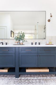Wonderful Dark Blue Vanity Cabinet With Textured And Printed Floor For Amazing Bathroom Ideas With Super Large Mirror, Actress Vanity, Blue Bathroom Vanity Cabinet Blue Bathroom Vanity, Diy Vanity Mirror, Blue Vanity, Master Bathroom, Bathroom Mirrors, Vanity Cabinet, Bathroom Cabinets, Painted Vanity, Kitchen Cabinets