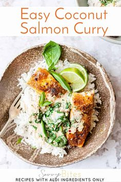 Make Easy Creamy Coconut Salmon Curry In 30 Minutes - Savvy Bites Aldi Recipes, Dinner Recipes, Cooking Recipes, Healthy Recipes, Healthy Dinners, Savoury Recipes, Snacks Recipes, Easy Dinners, Seafood