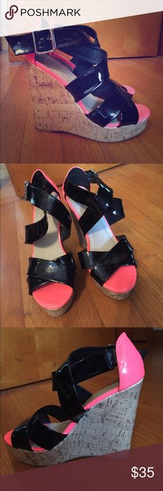 Madden girl wedges! Neon pink and black Madden Girl wedges! Size 7, worn a handful of time, EUC! Make me an offer! Madden Girl Shoes Wedges