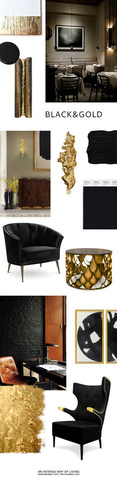 Black and Gold inspiation, mood board and material combinations with design pieces from BRABBU. http://www.brabbu.com/en/all-products.php