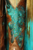 ❤ peacock feather cowboy boots