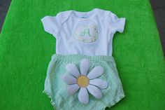 Package of 3 different bloomers that can embroidered and so cute with a matching onezie that's created especially for the new little one at Jackie's Embroidery