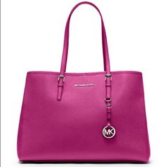 "Michael Kors  purse Serial number: PP-1502. 100% Real!! Pink with silver.. Measurements 14"" X 10"" X 5.5"" -Handle Drop: 9"" Michael Kors Bags"