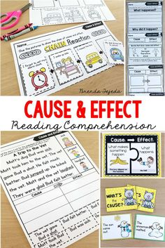Teaching Cause and effect to kindergarten and first grade can be tough. This PowerPoint slideshow breaks this reading comprehension skill down into small steps that are differentiated and easy to grasp. The follow-up activities are differentiated: reading passages with and without picture supports, literacy centers, science experiments, card games, writing practice pages, posters, bookmarks, and a complete teacher guide. #firstgradereadingcomprehension #firstgradereadingpassages…
