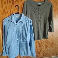Eddie Bauer Women's Jean Shirt Med and Olive Green Small Lot of 2