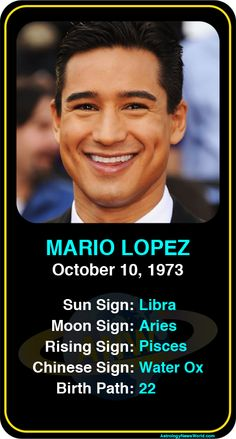 Celeb #Libra birthdays: Mario Lopez's astrology info! Sign up here to see more: www.astroconnects.com #astrology #horoscope #zodiac #birthchart #natalchart #mariolopez