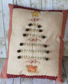 Primitive Christmas Tree Pillow by loretta - christmas dekoration Primitive Christmas Tree, Noel Christmas, Christmas Pillow, Country Christmas, Winter Christmas, Christmas Bedroom, Simple Christmas, Christmas Sewing, Christmas Embroidery