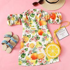 SHEIN Fruit Print Off Shoulder Dress