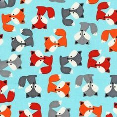 Ann Kelle - Urban Zoologie Part 5 - Foxes in Sky - quilting cotton