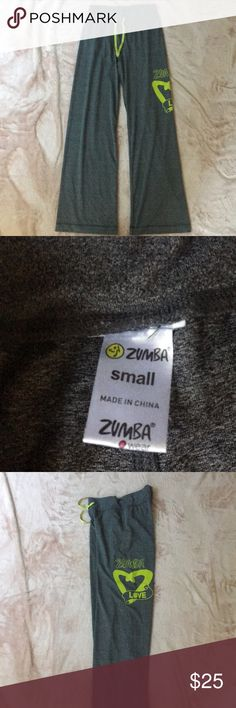 Zumba love gray green pants small drawstring CUTE Excellent condition! Perfect for colder weather coming up. Little pocket in back for an iPod or headset gear Zumba Fitness Pants Track Pants & Joggers