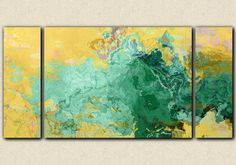 Large abstract modern art 30x60 triptych stretched canvas print in turquoise and yellow Oasis