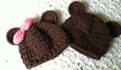 Lakeview Cottage Kids: Mr. and Miss Brownie Bear Crochet Baby Hats! FREE Pattern!