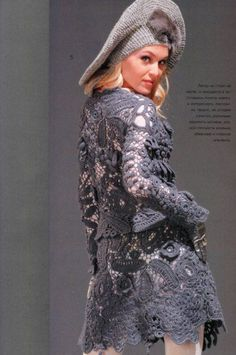 Irish Crochet. So elegant, love that pretty grey, with a hint of shimmer. TG