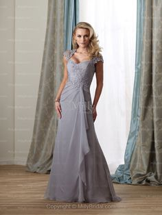 A-line Floor-length Sweetheart Chiffon Gray Mother of the Bride Dress