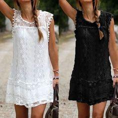 Robe d'été Zanzea 2016 Sexy femmes Casual manches plage robe courte gland solide blanc Mini robe en dentelle robes Plus Size dans Robes de Accessoires et vêtements pour femmes sur AliExpress.com | Alibaba Group