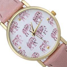 Elephants fashion wristwatch pink band girl woman watch
