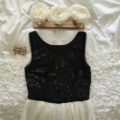 • B. Darlin black and white sequin dress • Beautiful dress for a special occasion :) Worn only twice and is in wonderful condition! Bought in Dillard's :) B. Darlin Dresses