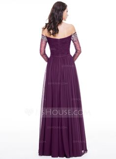 A-Line/Princess Off-the-Shoulder Floor-Length Chiffon Evening Dress With Ruffle Beading Sequins (017056122) - JJsHouse