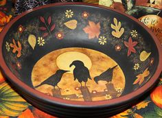 Folk Art Halloween Hand Painted Large Wooden Trick or Treat Bowl - MADE TO ORDER - Three Crows Sitting on a Fence in Moonlight Autumn Leaves by RavensBendFolkArt on Etsy