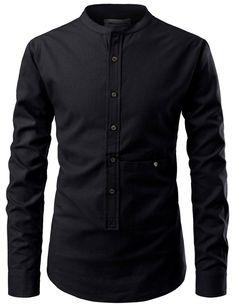 Keiji Mandarin Collar Henley Shirt – Louie Supply Co. Stand Collar Shirt, Collar Shirts, Men Shirts, Collared Shirt Dress, Camisa Formal, Business Shirts, Mode Streetwear, Henley Shirts, Mandarin Collar