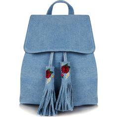 SKINNYDIP Cressida denim backpack (2.160 RUB) ❤ liked on Polyvore featuring bags, backpacks, blue backpack, blue bag, backpack bags, drawstring bags and shoulder strap backpack