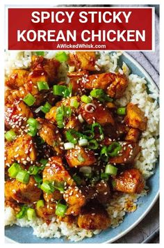 Spicy Korean Chicken This Spicy Sticky Korean Chicken is savory, sticky and super spicy! Perfectly marinated chicken and tossed in a spicy Korean gochujang sauce, serve this Spicy Sticky Korean Chicken over rice for the perfect easy chicken dinner. Korean Chicken Marinade, Spicy Korean Chicken, Marinated Chicken, Korean Beef, Gochujang Recipe Chicken, Thai Chicken, Sweet And Spicy Chicken, Spicy Recipes, Indian Food Recipes