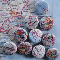 Map magnets of places you have been projects-i-want-to-make