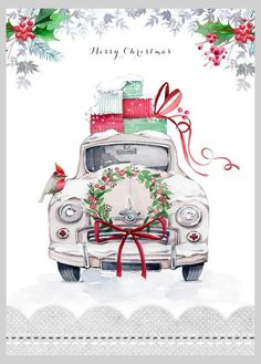Victoria Nelson - Christmas Car Copy More Christmas Truck, Noel Christmas, Vintage Christmas Cards, Little Christmas, Winter Christmas, Christmas Crafts, Christmas Presents, Vintage Cards, Illustration Noel